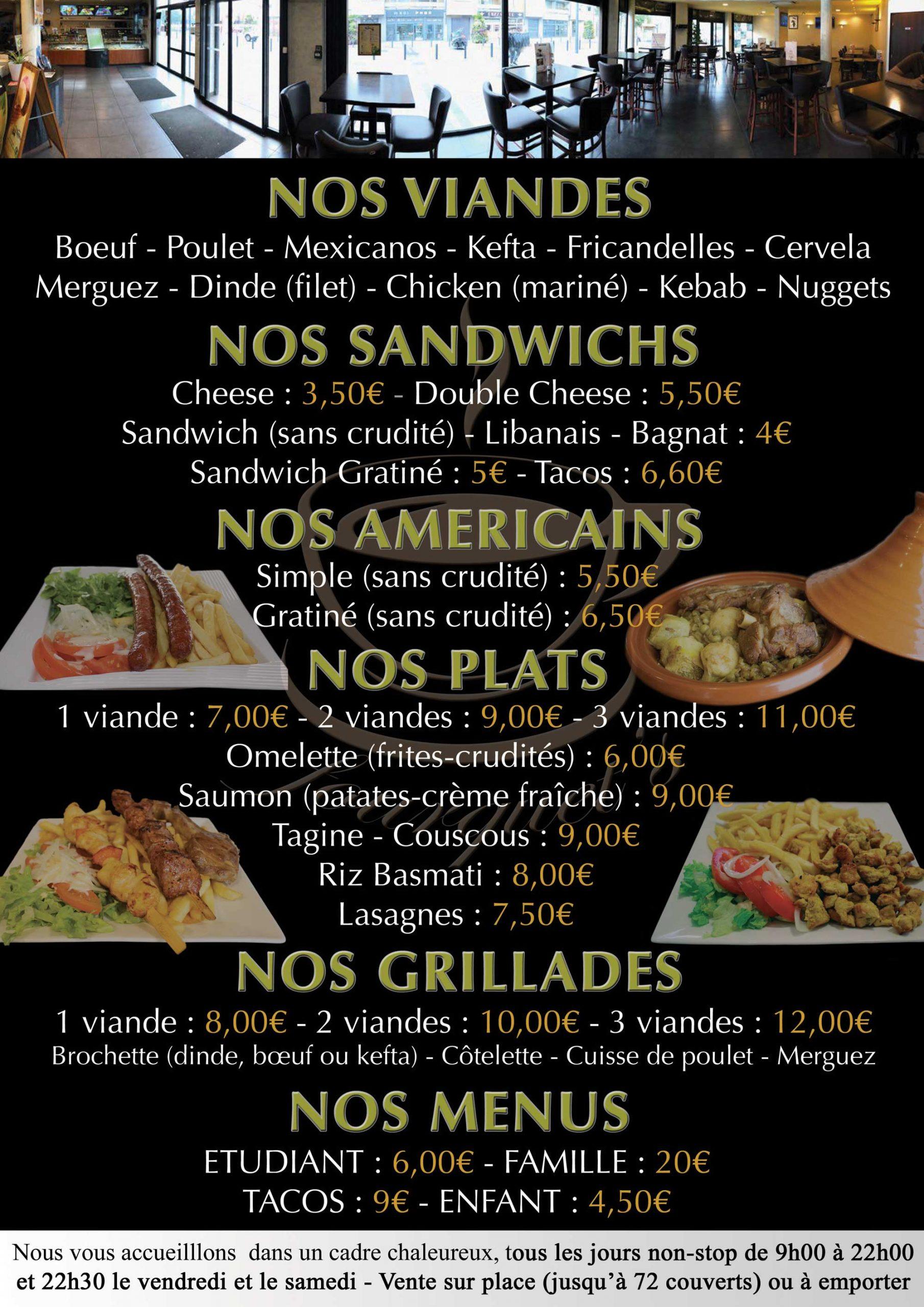 menu restaurant fourquet